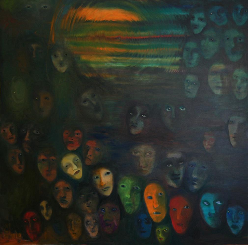 Faces - oil painting 002 - 150cm x 150cm