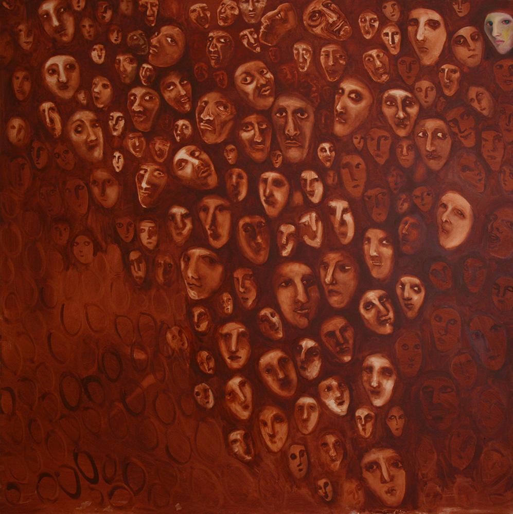 Faces - oil painting 003 - 150cm x 150cm