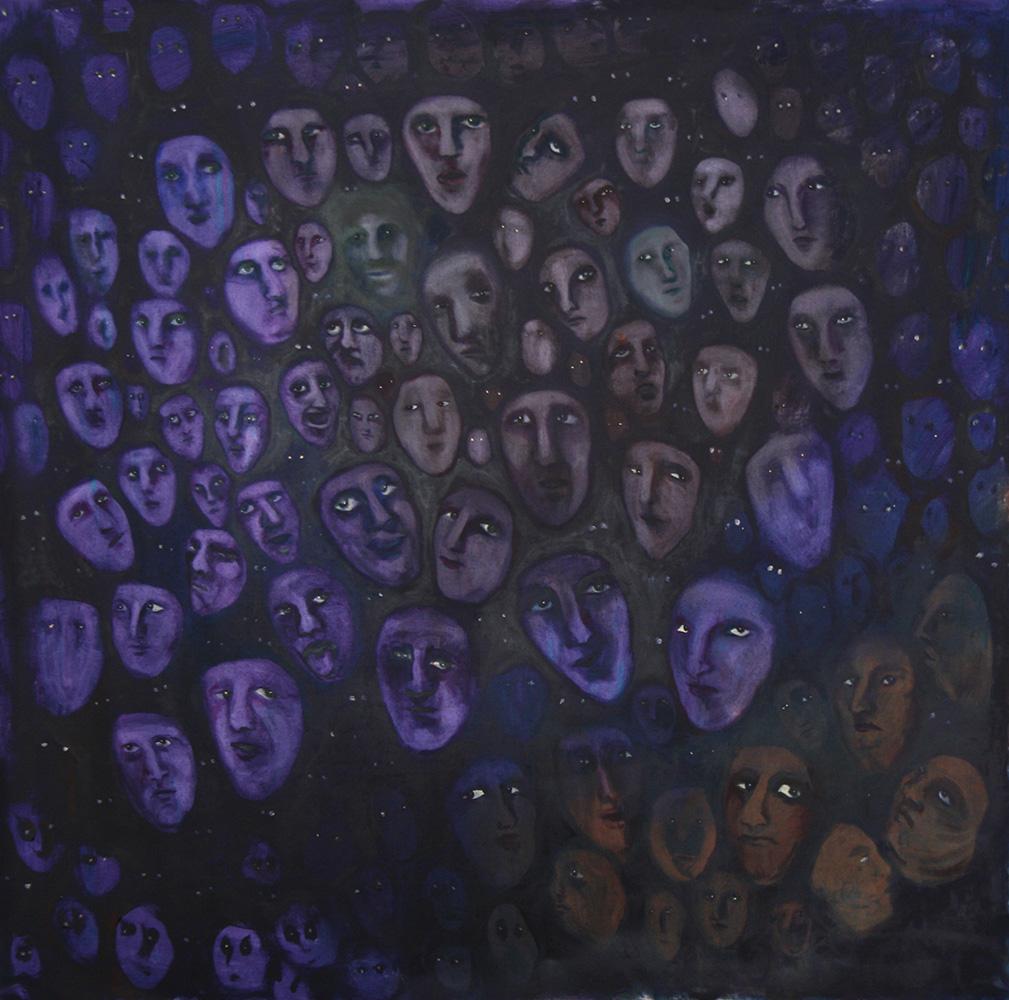 Faces - oil painting 007 - 150cm x 150cm