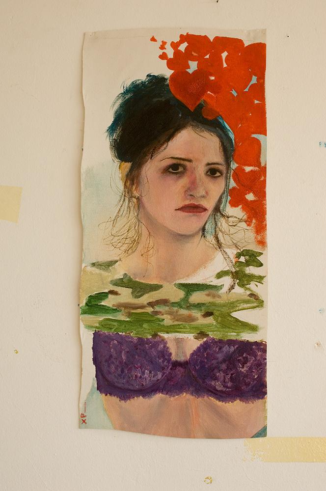 Self Portrait with Hearts - 58cm x 26cm